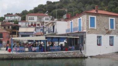 Taverna on the coast of the sea — Stock Video