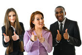Successful Business Team Two Thumbs Up — Stock Photo