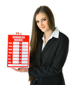 Business woman holding Business Hours sign — Stock Photo