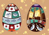 Fabulous easter eggs — Stock Vector
