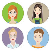 Females avatars — Stock Vector