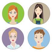 Females avatars — Stock Vector
