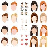Women's faces — Stock Vector