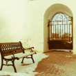 Bench at the monastery gate, Rostov Veliky, Russia — Stock Photo #46490549