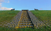 Bench on the Ijsselmeer dam, The Netherlands — Stock fotografie