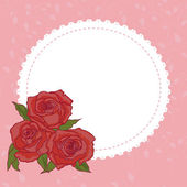 Frame  with elegant red roses — Vecteur