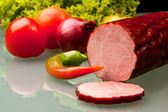 Composition of spring meat and vegetables — Stock Photo