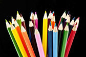 Multicolored pencils set isolated on black background — Stock Photo