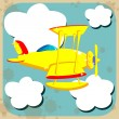 Yellow airplane flying through the sky with clouds — 图库矢量图片