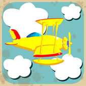 Yellow airplane flying through the sky with clouds — Stock Vector