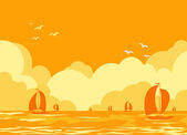 Sea landscape with yachts — Stock Vector