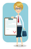 Business woman, contract. — Stock Vector