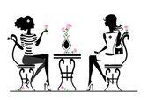 在咖啡馆里的女朋友 — 图库矢量图片