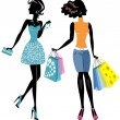 Two fashionable girls with packages — Stock Vector #45745125