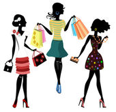 Fashion girls with bags, silhouettes — Stock Vector