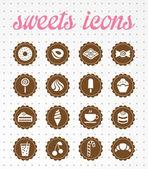 Iconos de dulces — Vector de stock