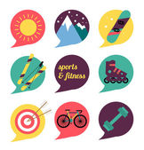 Sports and fitness icons set. — Stockvektor
