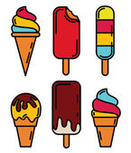 Ice cream and lolly icons set. — Stock Vector