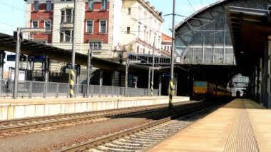 The train arrives into the main train station — Vídeo de stock