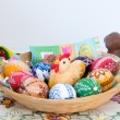 Easter decoration - painted eggs in a basket and other decorations (Chocolate) — Stock Photo