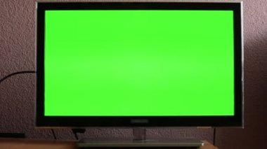 Tv(television) - grüner bildschirm — Stockvideo