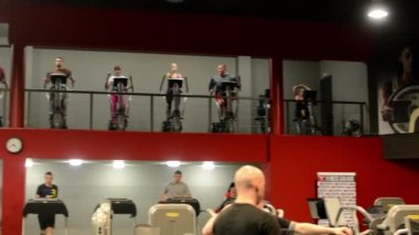 People doing sports, running on machines in fitness, gym. Workout — Stock Video