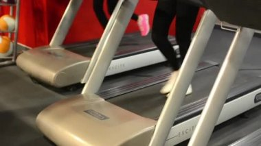 Young women doing sports, running on machines in fitness, gym. Workout — Stock Video