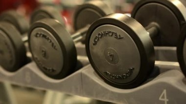 Dumbbells in fitness or gym — Video Stock