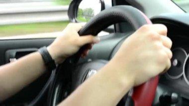 A man drives a car - wheel — Vídeo Stock