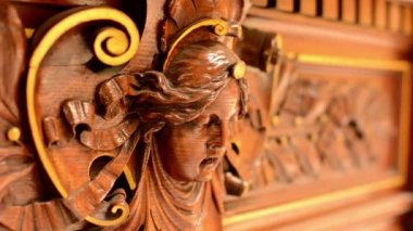 Wooden decoration - interior - portrait — Stockvideo