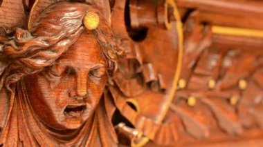 Wooden decoration - interior - portrait — Wideo stockowe