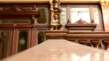 Decorative handrail - a historic building (interior) — Stock Video