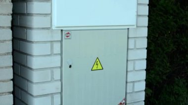 Safety warnings on the fuse box — Stock Video