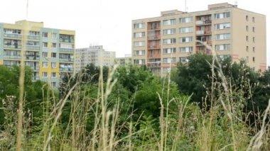 Flats (housing estate) with nature (trees) — Vidéo