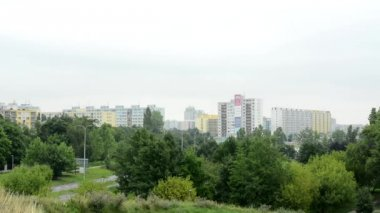 Housing estate (development) - high-rise block of flats - with nature — Stock Video