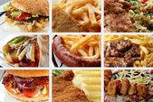 各种快餐产品的抽象拼贴画 — 图库照片