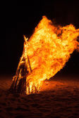 Pyre burning on the beach — Stock Photo