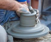 Potter's wheel turning — Stock Photo