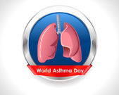 World asthma day background with lungs and stylish text on silver badge- vector eps 10 — Vetorial Stock