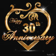 30 year anniversary golden label, 30th anniversary decorative golden heart — Stock Vector
