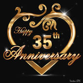 35 year anniversary golden label, 35th anniversary decorative golden heart — Stock Vector
