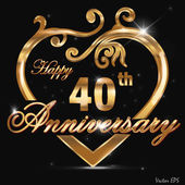 40year anniversary golden label, 40th anniversary decorative golden heart — Stock Vector
