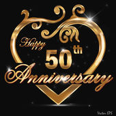 50 year anniversary golden label, 50th anniversary decorative golden heart — Stock Vector