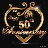 50 year anniversary golden label, 50th anniversary decorative golden heart — Stock Vector