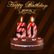 50Year happy birthday hard with cake and candles, 50th birthday - vector EPS10 — Stock Vector
