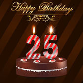 25 Year happy birthday hard with cake and candles, 25th birthday - vector EPS10 — Stock Vector