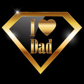 Happy fathers day, i love dad greeting card with super hero — Stock Vector