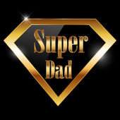 Happy fathers day, super dad greeting card with super hero — Stock Vector