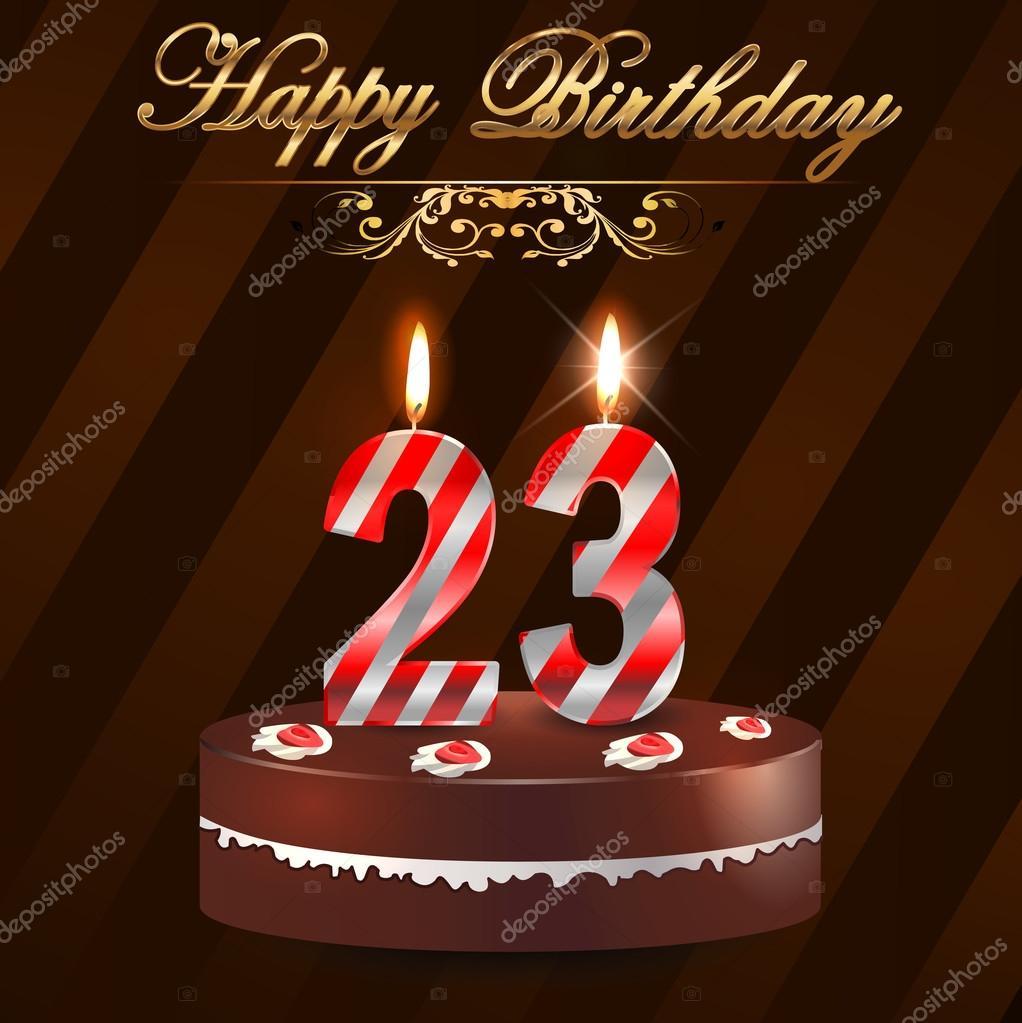 23 Jahre Geburtstag Schwer Mit Kuchen Und Kerzen 23