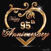 95 year anniversary golden heart design card — Stock Vector